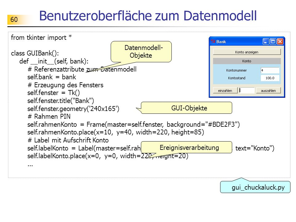 60 Benutzeroberfläche zum Datenmodell from tkinter import * class GUIBank(): def __init__(self, bank): # Referenzattribute zum Datenmodell self.bank =