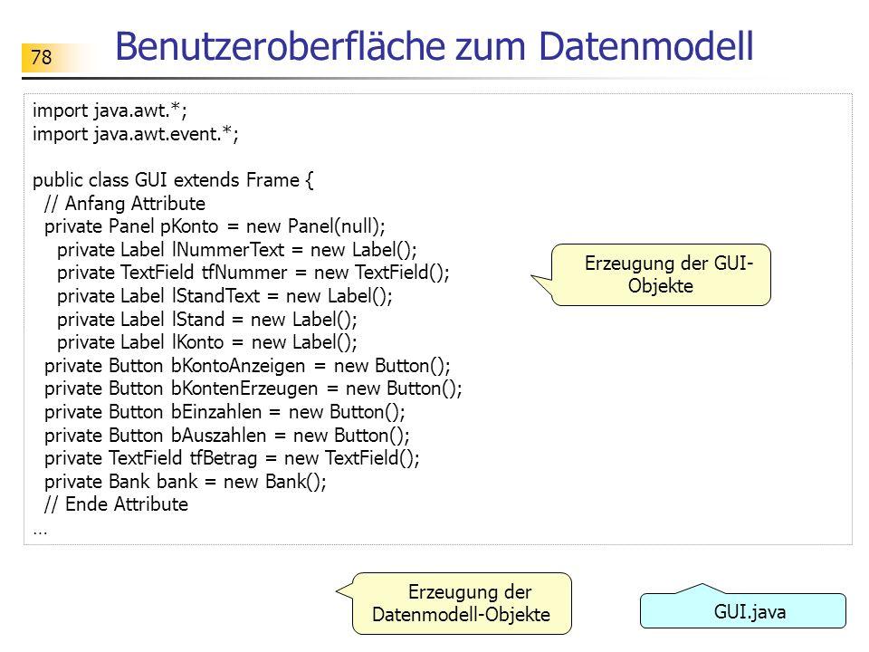 78 Benutzeroberfläche zum Datenmodell import java.awt.*; import java.awt.event.*; public class GUI extends Frame { // Anfang Attribute private Panel p