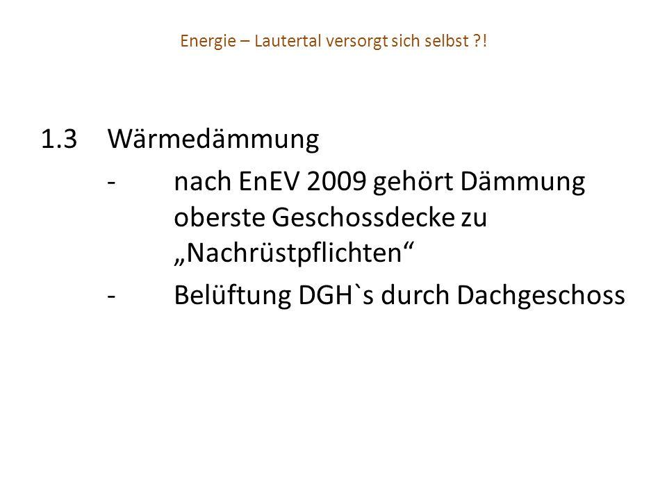 Energie – Lautertal versorgt sich selbst ?! 1.3Wärmedämmung -nach EnEV 2009 gehört Dämmung oberste Geschossdecke zu Nachrüstpflichten -Belüftung DGH`s