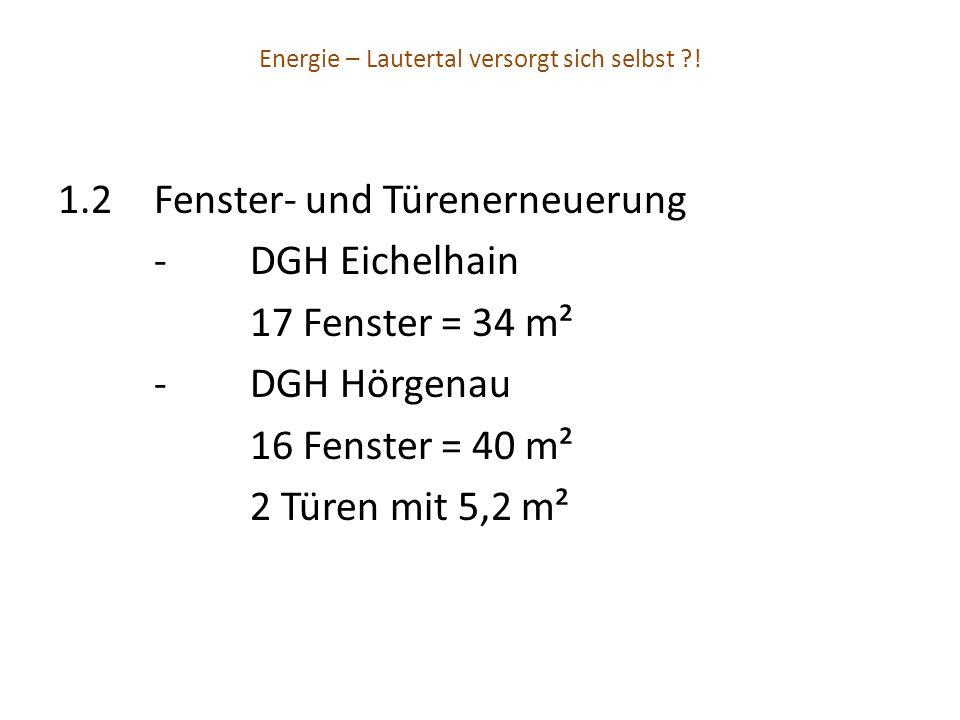 Energie – Lautertal versorgt sich selbst ?! 1.2Fenster- und Türenerneuerung -DGH Eichelhain 17 Fenster = 34 m² -DGH Hörgenau 16 Fenster = 40 m² 2 Türe