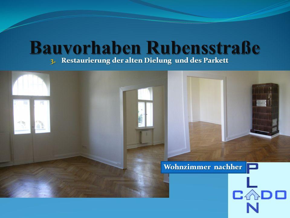 3.Restaurierung der alten Dielung und des Parkett Wohnzimmer nachher
