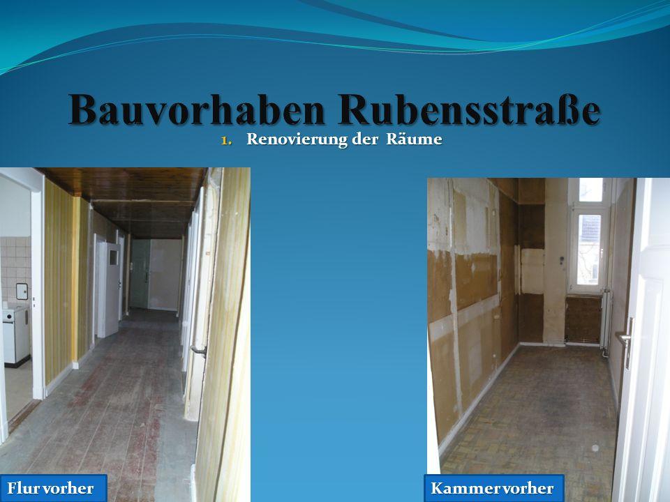 4.Verlegung von Laminat und Linoleum Küche mit Linoleum nachher 5.Tischlermäßige Überarbeitung der Türen, Fenster und Scheuerleisten