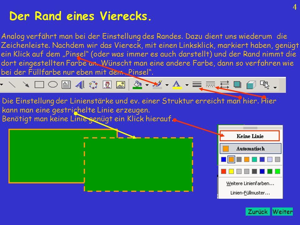 WeiterZurück 14 Das transparent machen eines Vierecks.