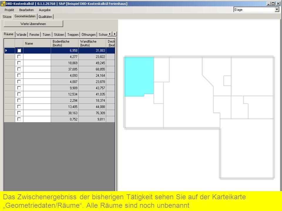 Das Zwischenergebniss der bisherigen Tätigkeit sehen Sie auf der Karteikarte Geometriedaten/Räume. Alle Räume sind noch unbenannt