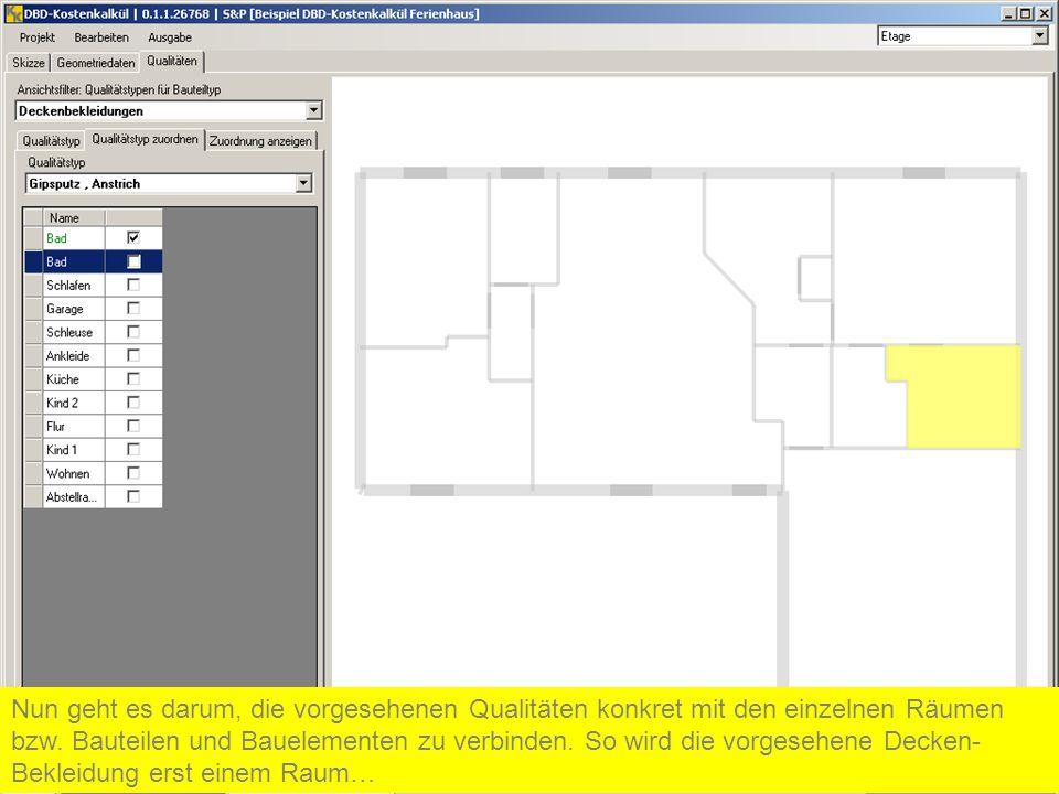 Nun geht es darum, die vorgesehenen Qualitäten konkret mit den einzelnen Räumen bzw.