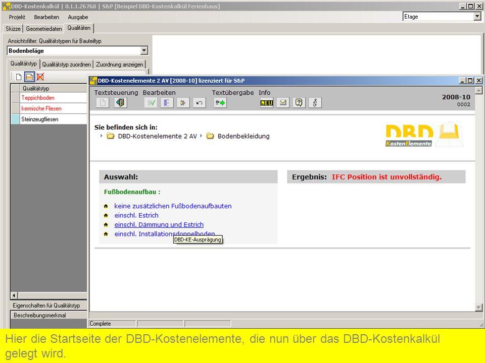 Hier die Startseite der DBD-Kostenelemente, die nun über das DBD-Kostenkalkül gelegt wird.