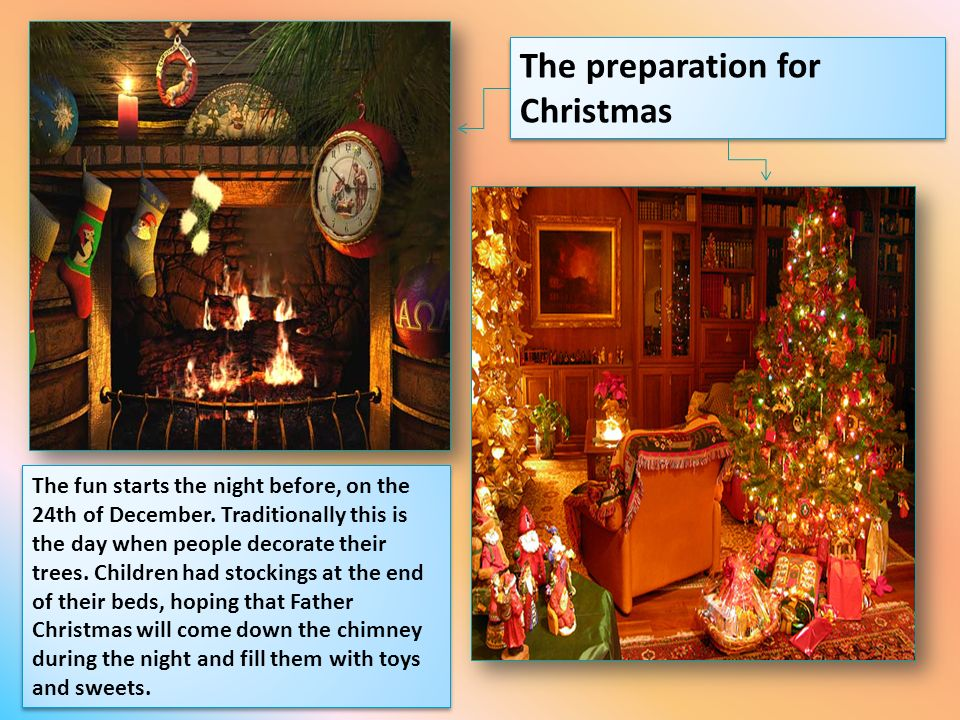 The preparation for Christmas The fun starts the night before, on the 24th of December. Traditionally this is the day when people decorate their trees