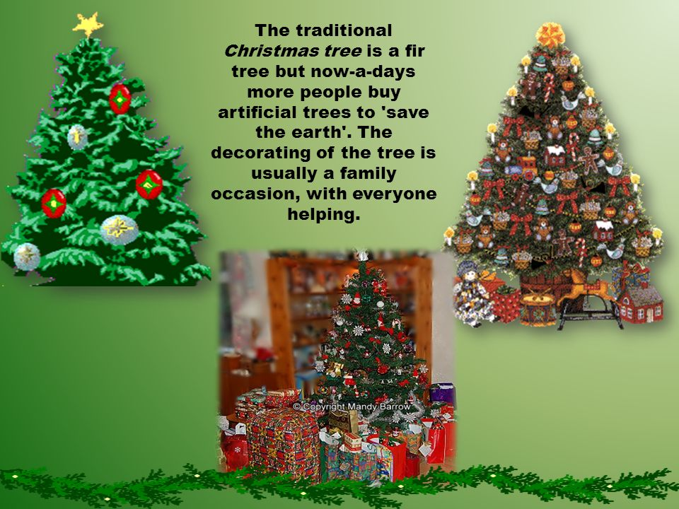 The traditional Christmas tree is a fir tree but now-a-days more people buy artificial trees to save the earth .