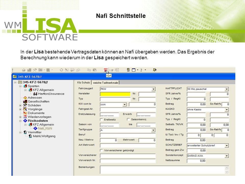 In der Lisa bestehende Vertragsdaten können an Nafi übergeben werden.