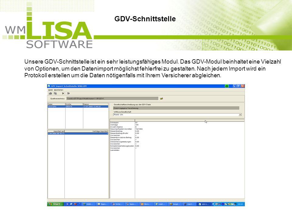 Unsere GDV-Schnittstelle ist ein sehr leistungsfähiges Modul. Das GDV-Modul beinhaltet eine Vielzahl von Optionen, um den Datenimport möglichst fehler