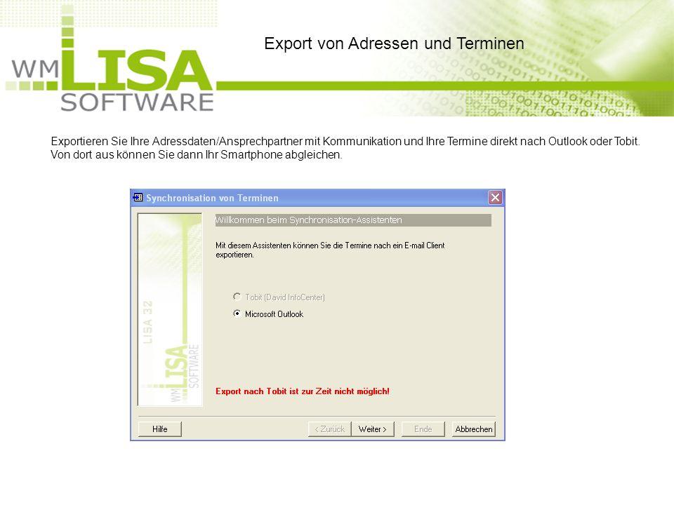 Exportieren Sie Ihre Adressdaten/Ansprechpartner mit Kommunikation und Ihre Termine direkt nach Outlook oder Tobit.