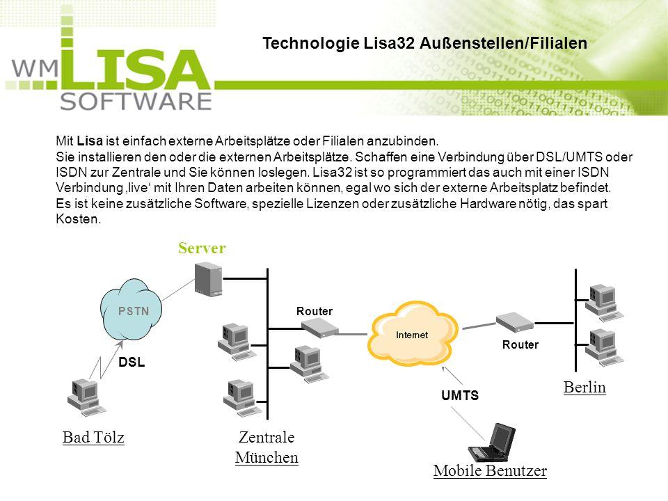 Mit Lisa ist einfach externe Arbeitsplätze oder Filialen anzubinden. Sie installieren den oder die externen Arbeitsplätze. Schaffen eine Verbindung üb