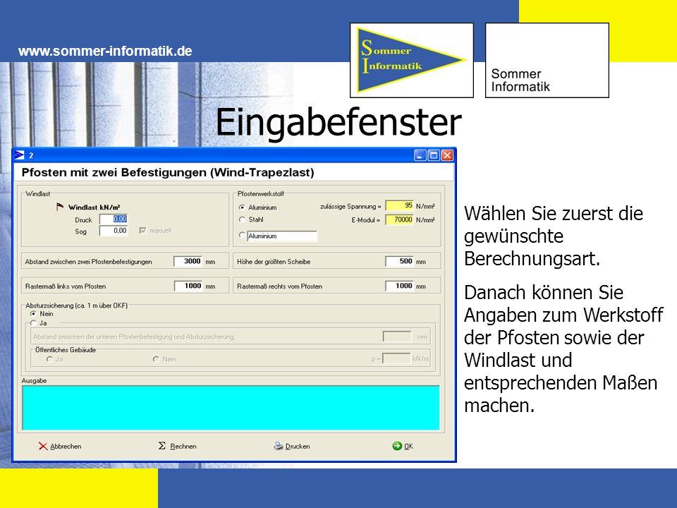 Eingabefenster www.sommer-informatik.de Wählen Sie zuerst die gewünschte Berechnungsart. Danach können Sie Angaben zum Werkstoff der Pfosten sowie der