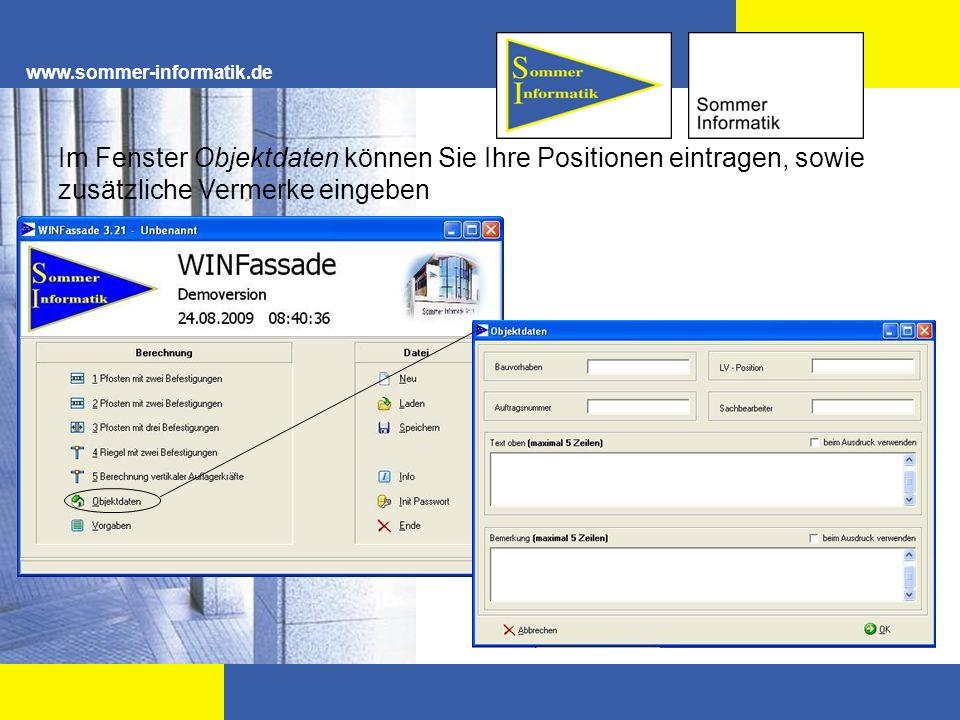www.sommer-informatik.de Einstellung der maximalen Durchbiegung