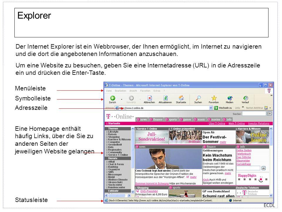 ECDL Explorer Eine Homepage enthält häufig Links, über die Sie zu anderen Seiten der jeweiligen Website gelangen Der Internet Explorer ist ein Webbrow