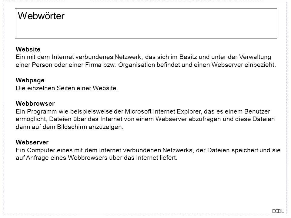 ECDL Das Hilfe-Fenster im Explorer Das Hilfe-Fenster verfügt über vier Register: Inhalt, Index, Suchen und Favoriten Im Register Inhalt finden Sie kurze Beschreibungen der Hauptmerkmale vom Internet Explorer.