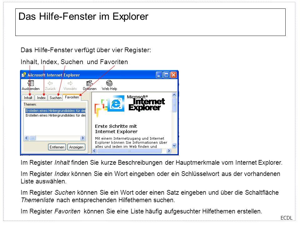 ECDL Das Hilfe-Fenster im Explorer Das Hilfe-Fenster verfügt über vier Register: Inhalt, Index, Suchen und Favoriten Im Register Inhalt finden Sie kur