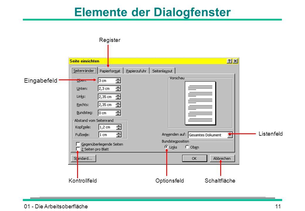 01 - Die Arbeitsoberfläche11 Elemente der Dialogfenster Eingabefeld Register Listenfeld SchaltflächeOptionsfeldKontrollfeld