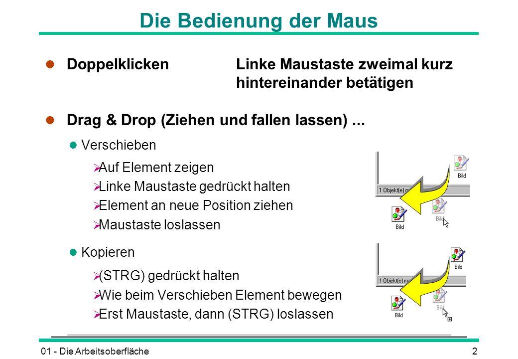 01 - Die Arbeitsoberfläche2 Die Bedienung der Maus l DoppelklickenLinke Maustaste zweimal kurz hintereinander betätigen l Drag & Drop (Ziehen und fall