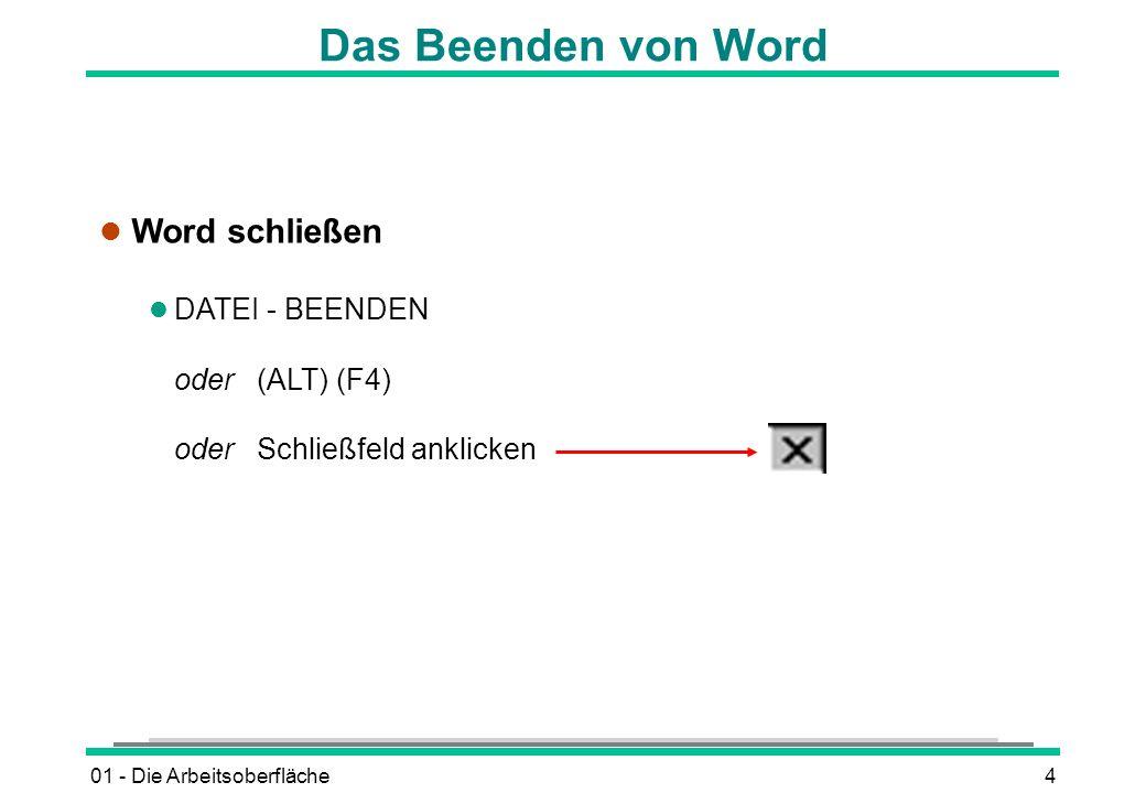 01 - Die Arbeitsoberfläche4 Das Beenden von Word l Word schließen l DATEI - BEENDEN oder (ALT) (F4) oder Schließfeld anklicken