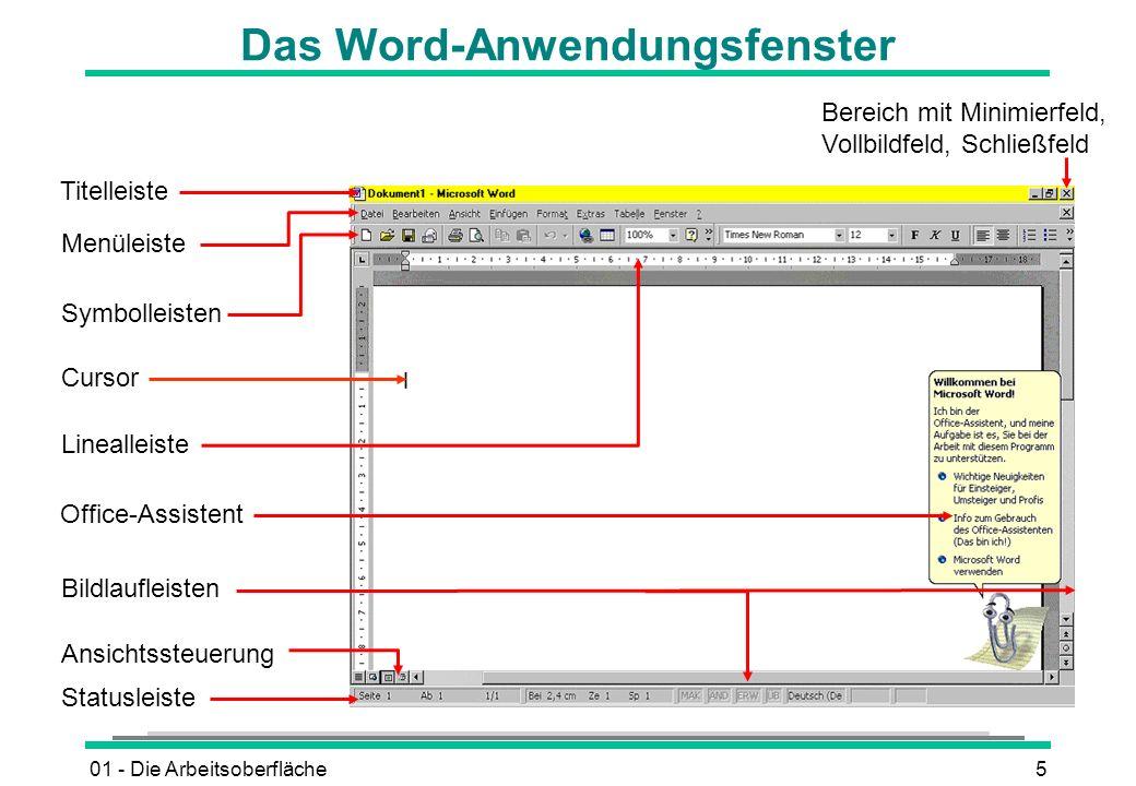 01 - Die Arbeitsoberfläche5 Das Word-Anwendungsfenster Titelleiste Menüleiste Symbolleisten Linealleiste Statusleiste Bereich mit Minimierfeld, Vollbi
