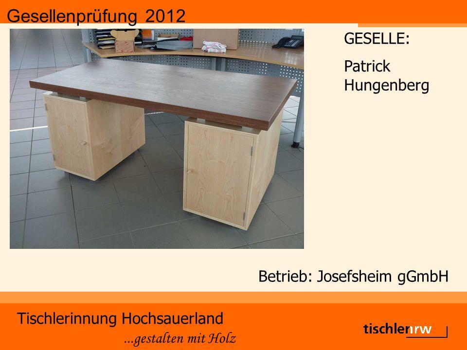 Gesellenprüfung 2012 Tischlerinnung Hochsauerland...gestalten mit Holz Betrieb: Josefsheim gGmbH GESELLE: Patrick Hungenberg