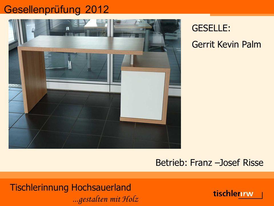 Gesellenprüfung 2012 Tischlerinnung Hochsauerland...gestalten mit Holz Betrieb: Franz –Josef Risse GESELLE: Gerrit Kevin Palm