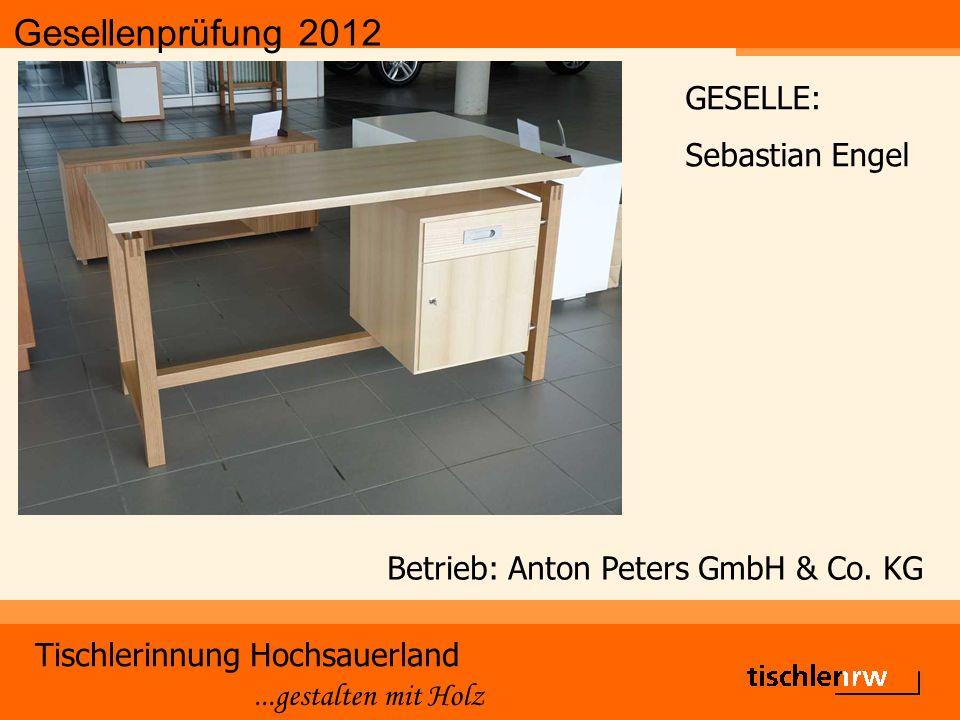 Gesellenprüfung 2012 Tischlerinnung Hochsauerland...gestalten mit Holz Betrieb: Anton Peters GmbH & Co.