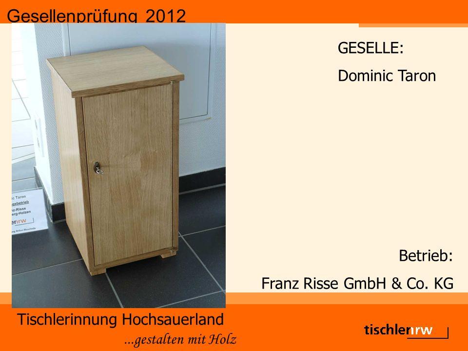 Gesellenprüfung 2012 Tischlerinnung Hochsauerland...gestalten mit Holz Betrieb: Franz Risse GmbH & Co.