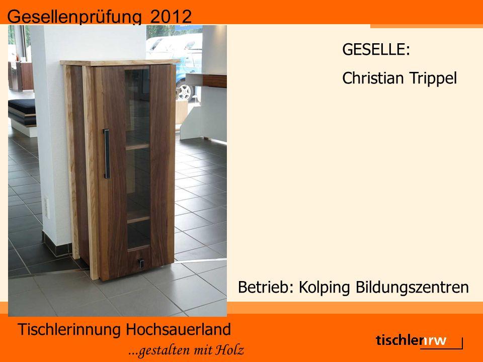 Gesellenprüfung 2012 Tischlerinnung Hochsauerland...gestalten mit Holz Betrieb: Kolping Bildungszentren GESELLE: Christian Trippel