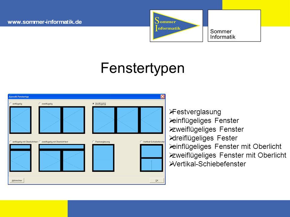 Fenstertypen Festverglasung einflügeliges Fenster zweiflügeliges Fenster dreiflügeliges Fester einflügeliges Fenster mit Oberlicht zweiflügeliges Fens