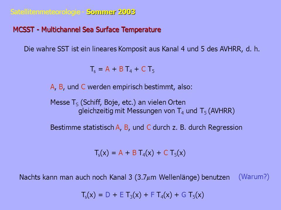 Sommer 2003 Satellitenmeteorologie - Sommer 2003 MCSST - Multichannel Sea Surface Temperature Die wahre SST ist ein lineares Komposit aus Kanal 4 und 5 des AVHRR, d.