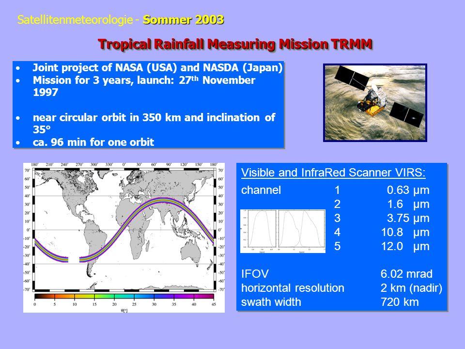 Sommer 2003 Satellitenmeteorologie - Sommer 2003 1-D two flow radiative transfer program –Atmospheric absorption / transmission: Water vapour continuum Line absorption:k = S(T).