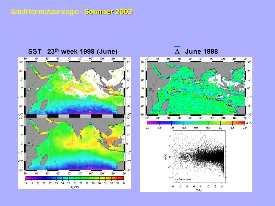Sommer 2003 Satellitenmeteorologie - Sommer 2003 SST 23 th week 1998 (June) June 1998