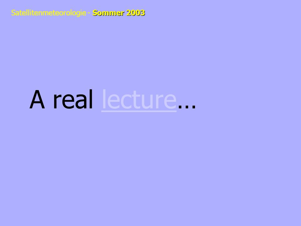 A real lecture…lecture