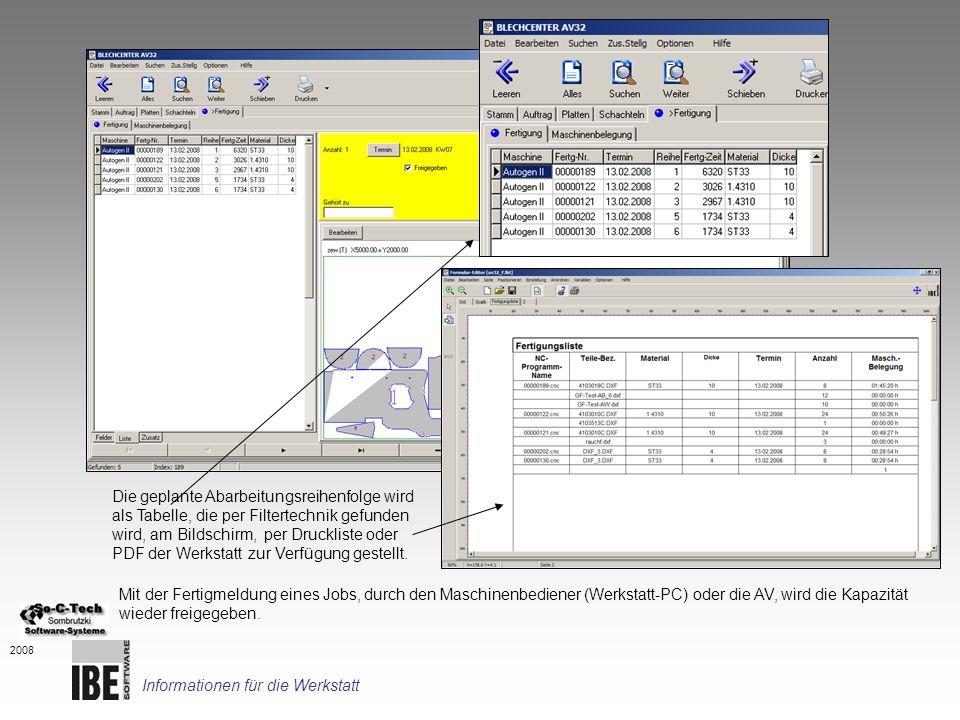 2008 Die geplante Abarbeitungsreihenfolge wird als Tabelle, die per Filtertechnik gefunden wird, am Bildschirm, per Druckliste oder PDF der Werkstatt
