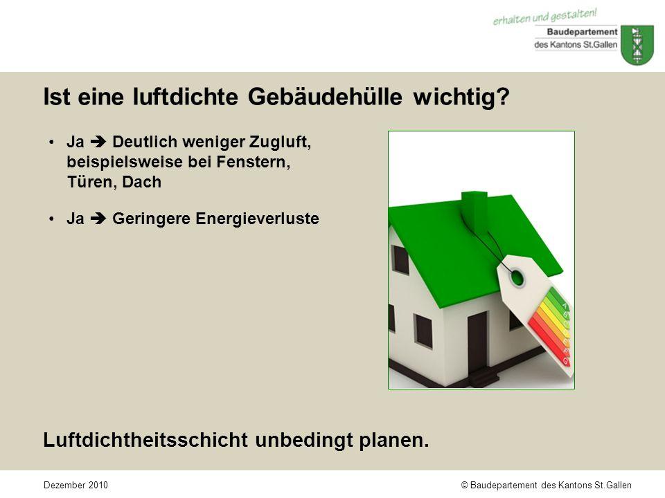 © Baudepartement des Kantons St.GallenDezember 2010 Ist eine luftdichte Gebäudehülle wichtig.