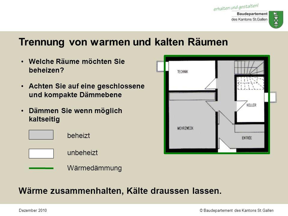 © Baudepartement des Kantons St.GallenDezember 2010 Trennung von warmen und kalten Räumen Welche Räume möchten Sie beheizen.
