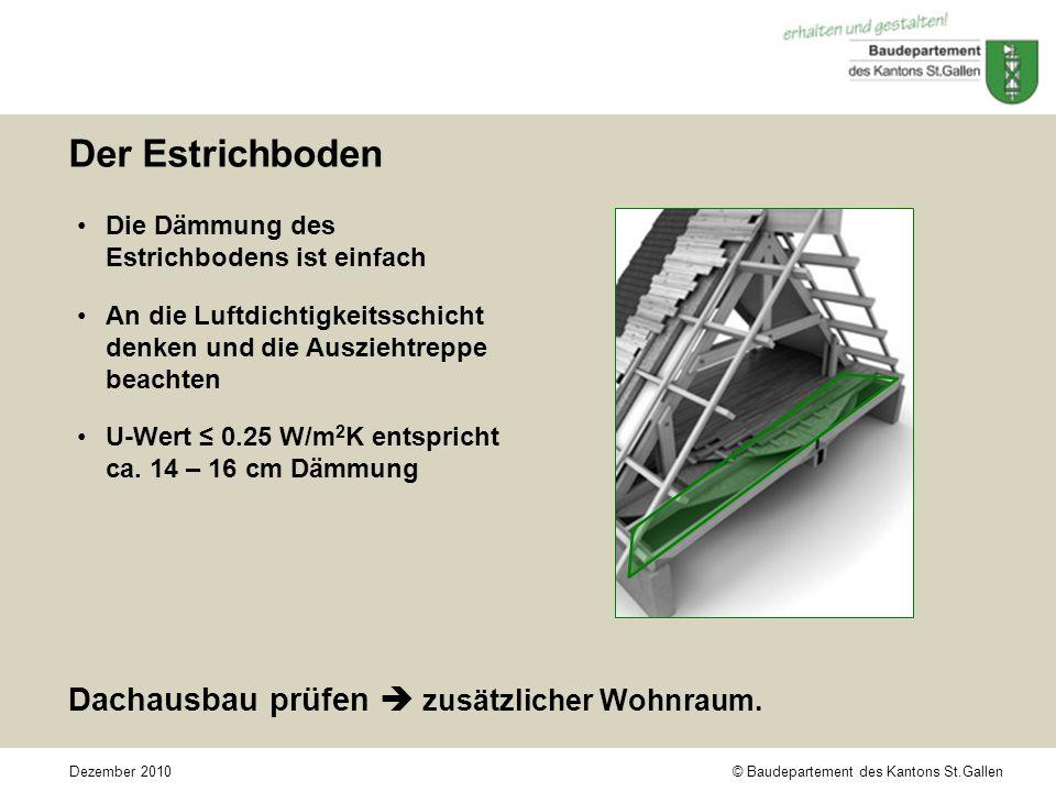 © Baudepartement des Kantons St.GallenDezember 2010 Der Estrichboden Die Dämmung des Estrichbodens ist einfach An die Luftdichtigkeitsschicht denken und die Ausziehtreppe beachten U-Wert 0.25 W/m 2 K entspricht ca.