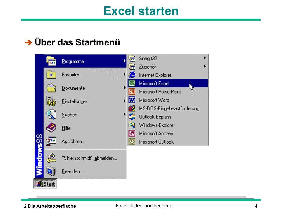 52 Die ArbeitsoberflächeExcel starten und beenden Excel starten è Durch Doppelklick auf das Excel-Symbol è Durch Doppelklick auf das Symbol einer Excel-Datei Microsoft Excel
