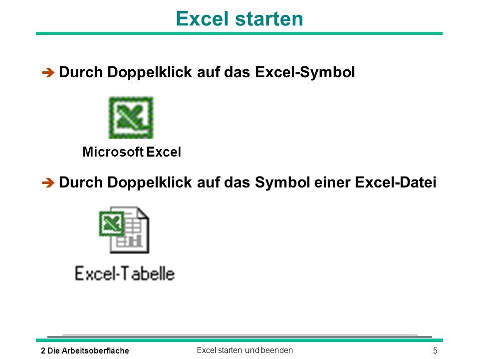 62 Die ArbeitsoberflächeExcel starten und beenden Excel beenden è oder (ALT)(F4) oder è DATEI - BEENDEN