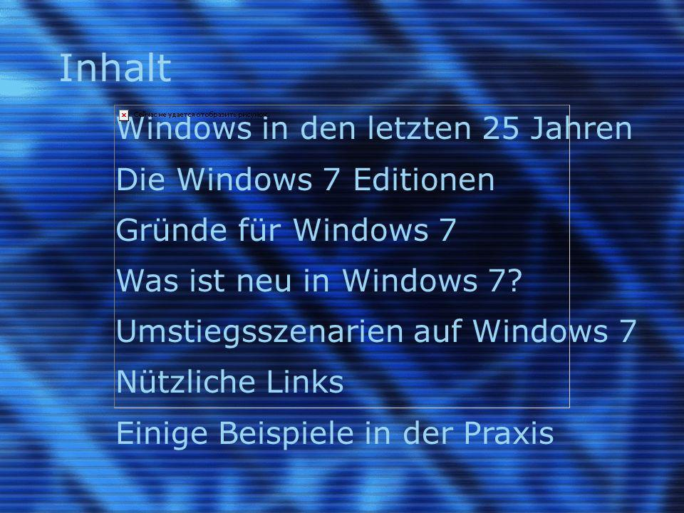 Inhalt Windows in den letzten 25 Jahren Die Windows 7 Editionen Gründe für Windows 7 Was ist neu in Windows 7.