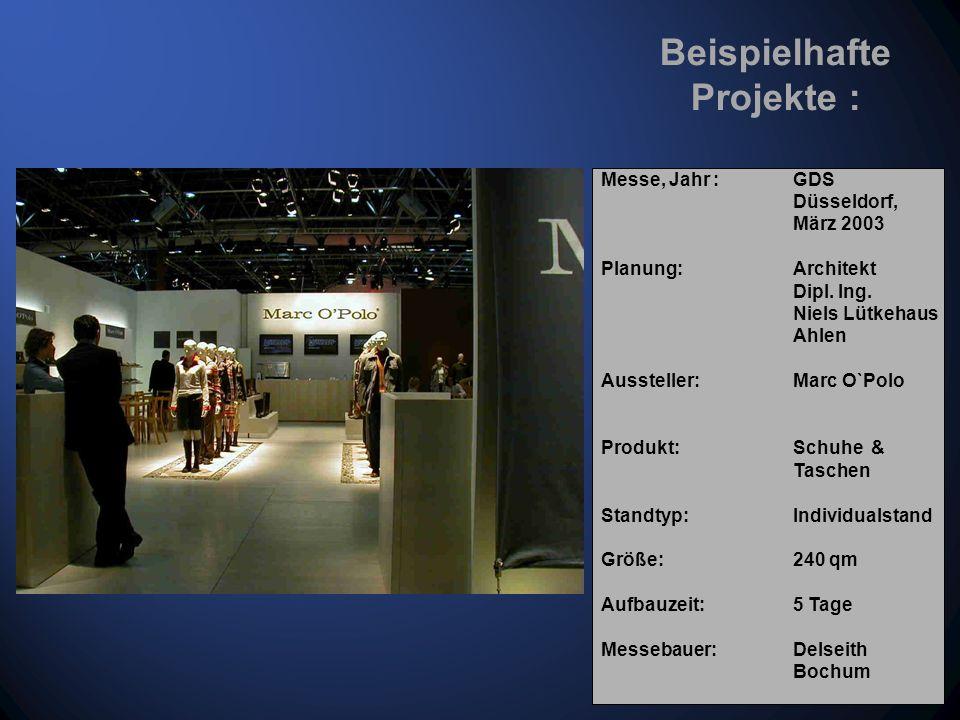 Ihr Produkt in der geplanten Markenwelt Messe, Jahr : GDS Düsseldorf, März 2003 Planung: Architekt Dipl.