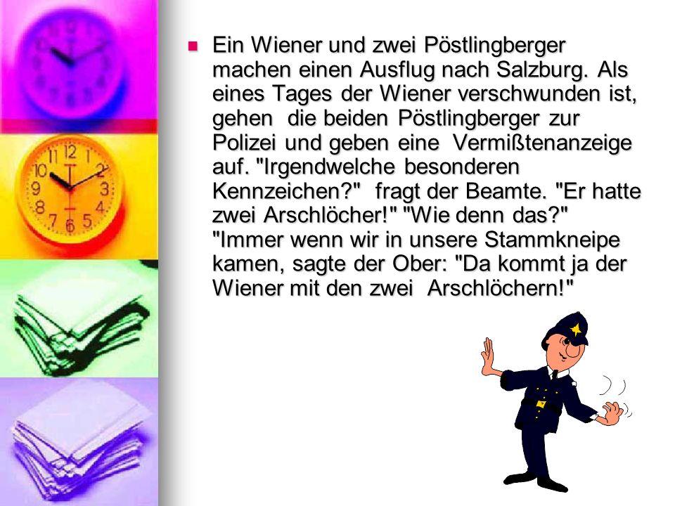 Ein Wiener und zwei Pöstlingberger machen einen Ausflug nach Salzburg. Als eines Tages der Wiener verschwunden ist, gehen die beiden Pöstlingberger zu
