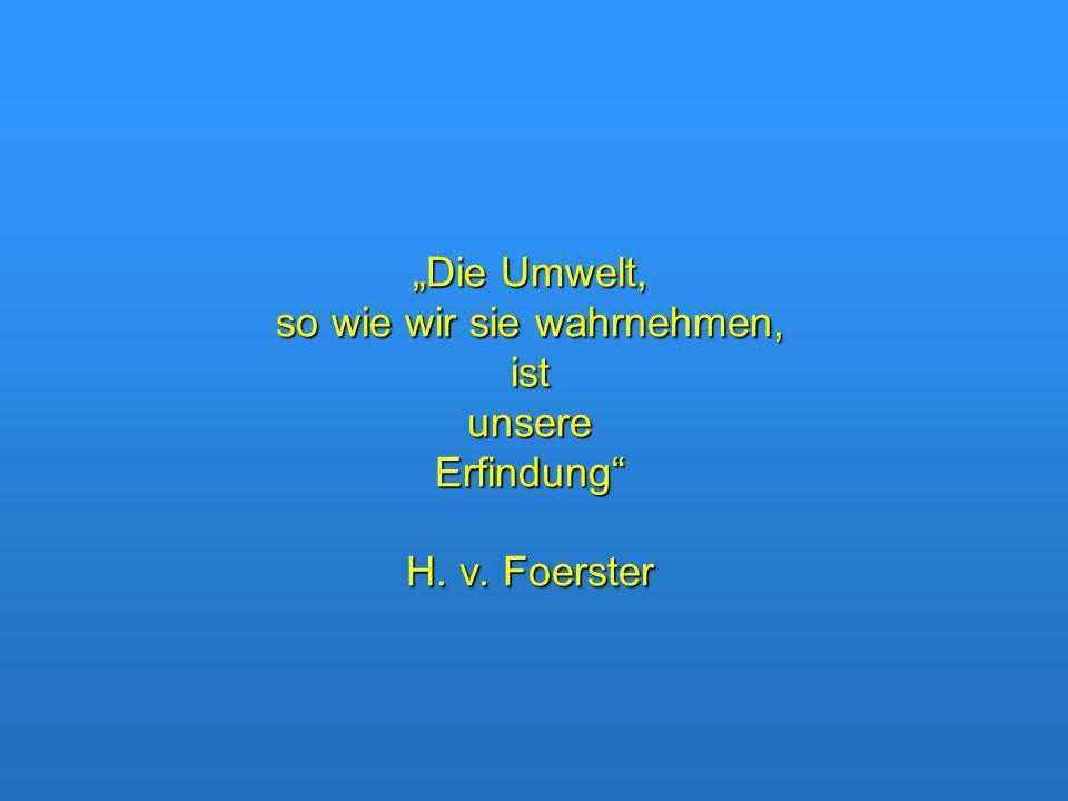 Die Umwelt, so wie wir sie wahrnehmen, ist unsere Erfindung H. v. Foerster