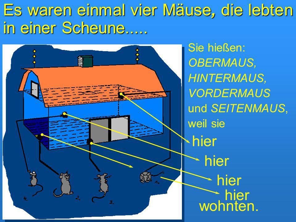 Es waren einmal vier Mäuse, die lebten in einer Scheune..... Sie hießen: OBERMAUS, HINTERMAUS, VORDERMAUS und SEITENMAUS, weil sie hier hier wohnten.