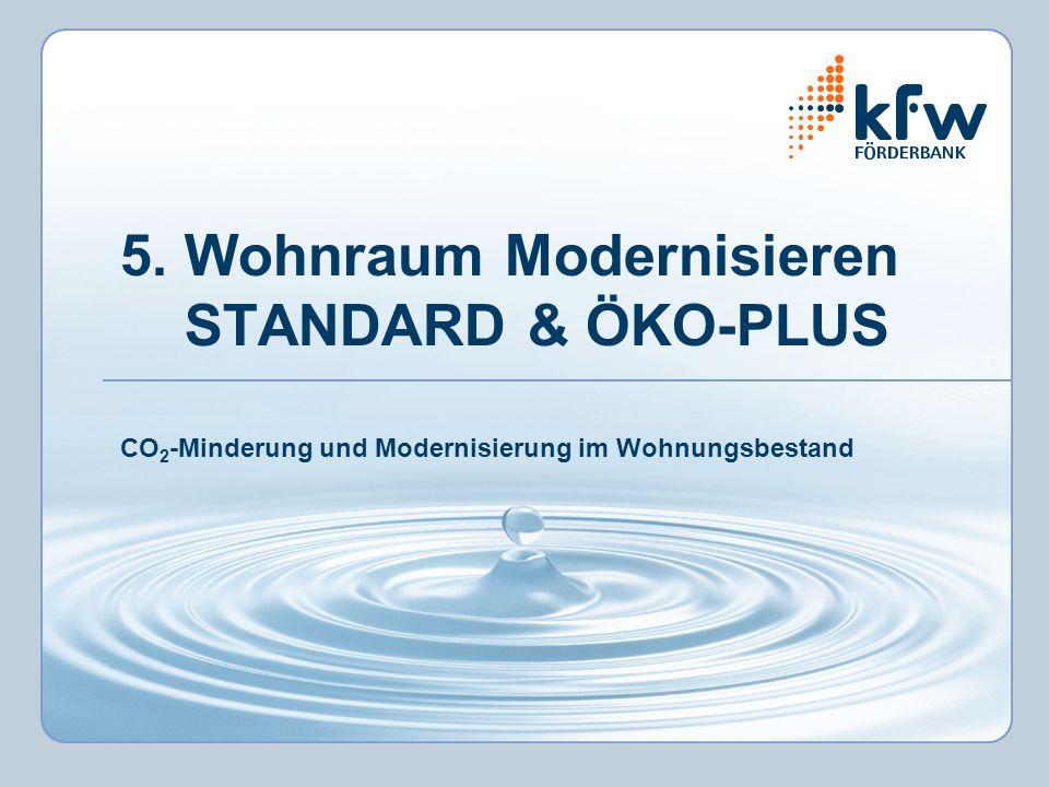 5. Wohnraum Modernisieren STANDARD & ÖKO-PLUS CO 2 -Minderung und Modernisierung im Wohnungsbestand