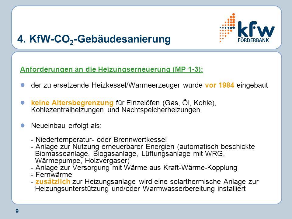 10 4.KfW-CO 2 -Gebäudesanierung Wann ist eine Heizenergieträgerumstellung im MP 3 förderfähig.