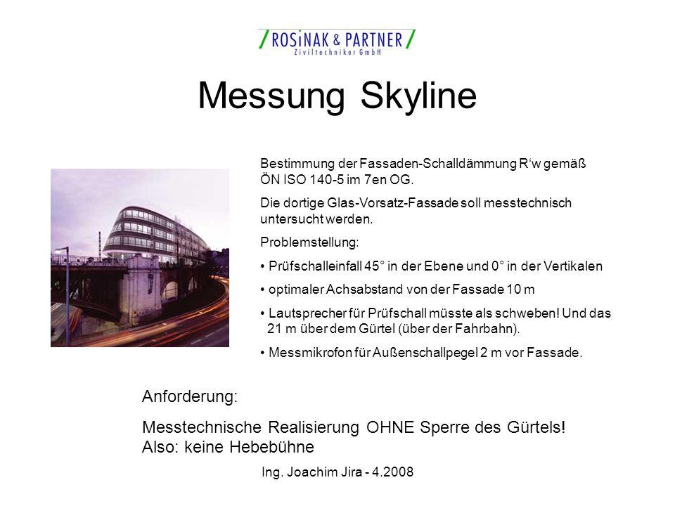 Ing. Joachim Jira - 4.2008 Messung Skyline Bestimmung der Fassaden-Schalldämmung Rw gemäß ÖN ISO 140-5 im 7en OG. Die dortige Glas-Vorsatz-Fassade sol