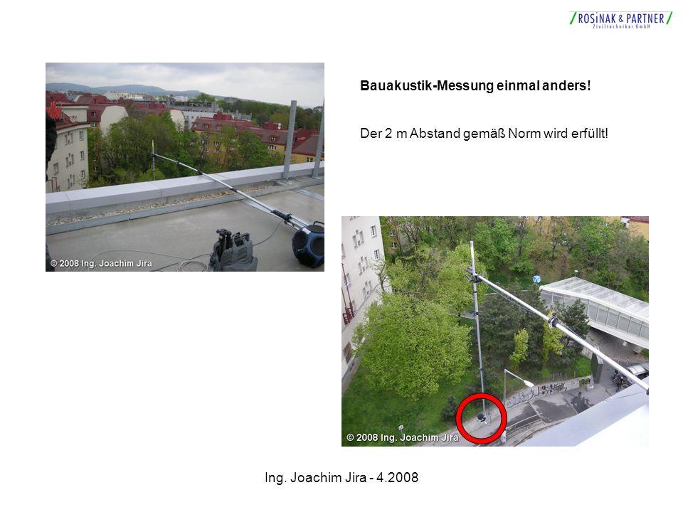 Ing. Joachim Jira - 4.2008 Bauakustik-Messung einmal anders! Der 2 m Abstand gemäß Norm wird erfüllt!